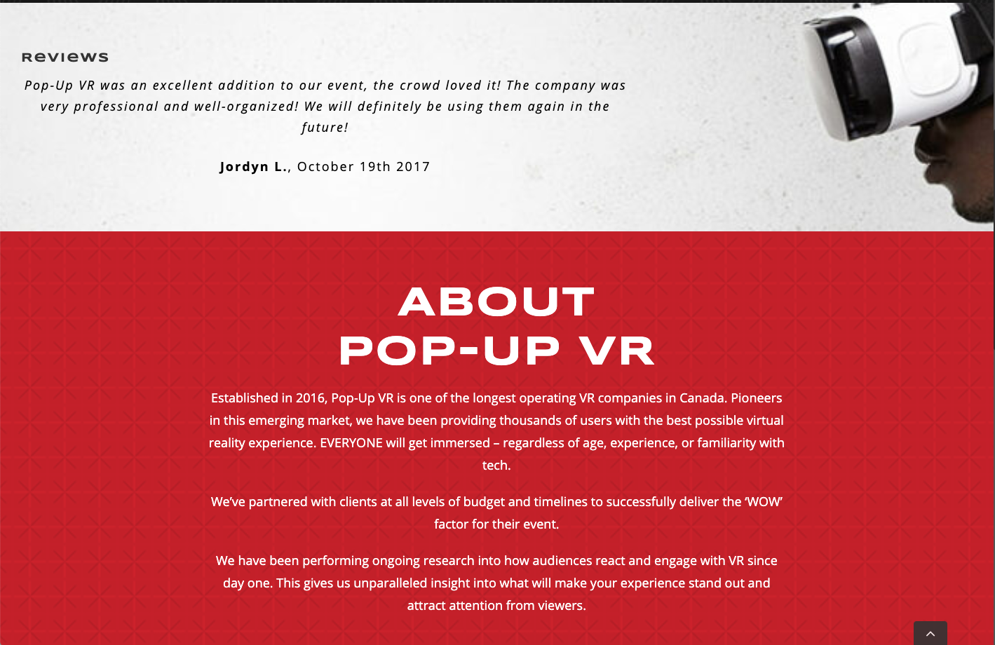 pop-up vr about