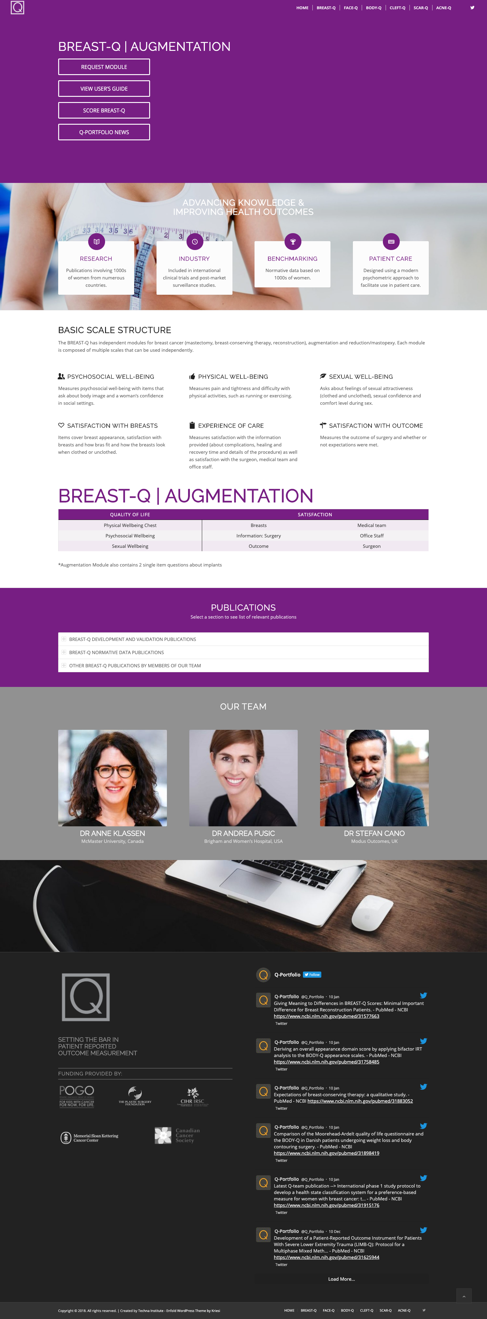 Screenshot of Breast Q Augmentation Page